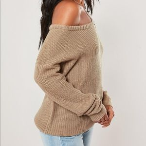 Missguided Sweaters - Missguided off the shoulder sweater in brown.
